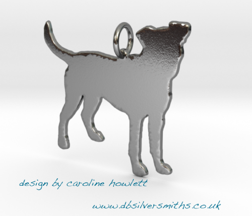 Patterdale dog natural pendant  necklace sterling silver handmade